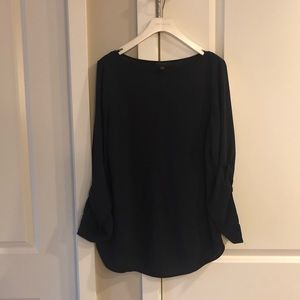Ann Taylor Navy Blouse with Roll Sleeves